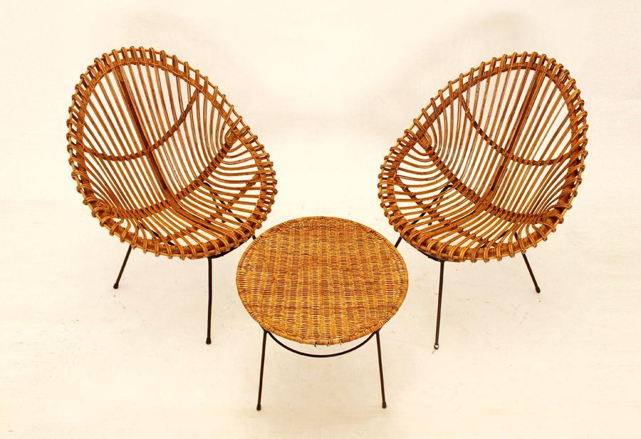 Vintage rattan st hle beistelltisch set bei pamono kaufen for Beistelltisch rattan