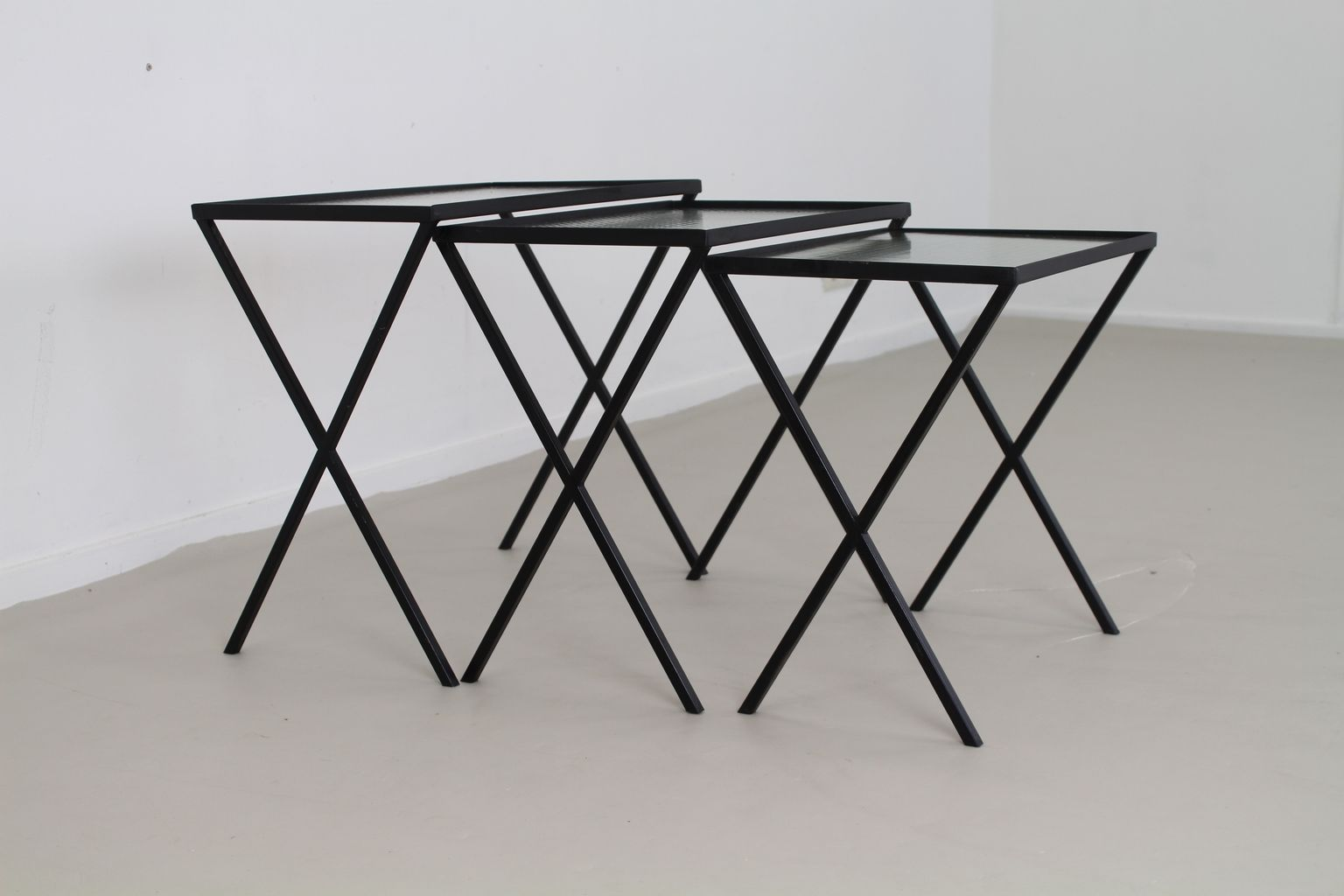 Set Of 3 Glass Tables: Vintage Metal And Glass Nesting Tables, Set Of 3 For Sale