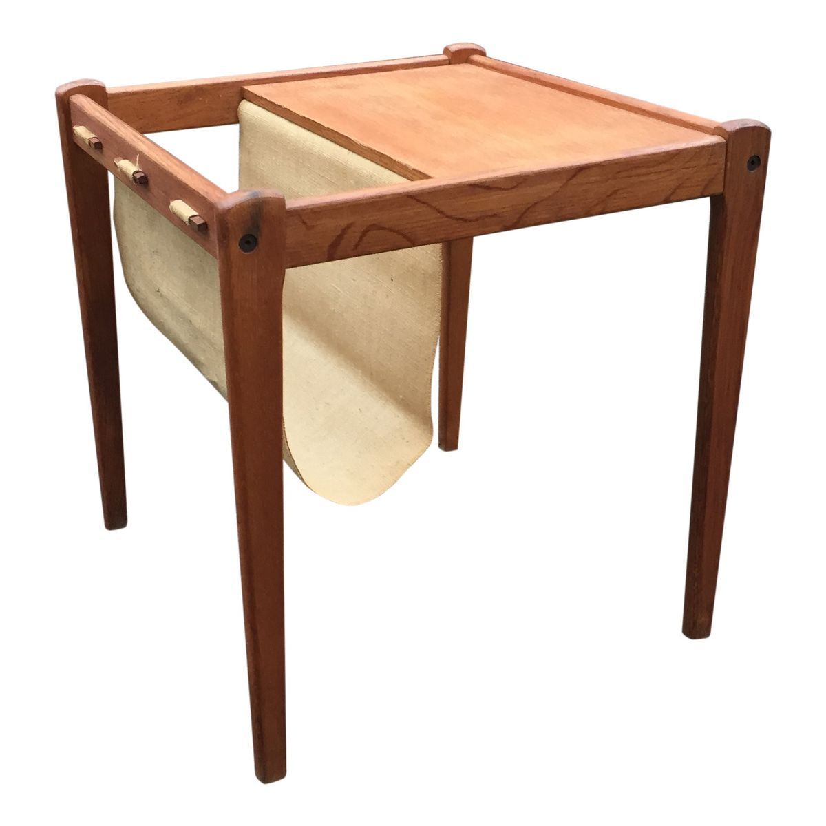 Oak Side Table With Canvas Magazine Rack From Furbo For Sale At Pamono. Full resolution  photograph, nominally Width 1200 Height 1200 pixels, photograph with #AD5F1E.