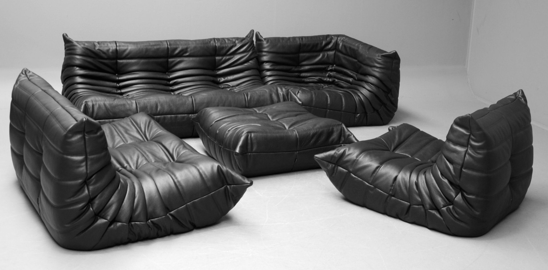 Vintage Black Leather Togo Sofa Set by Michel Ducaroy for Ligne