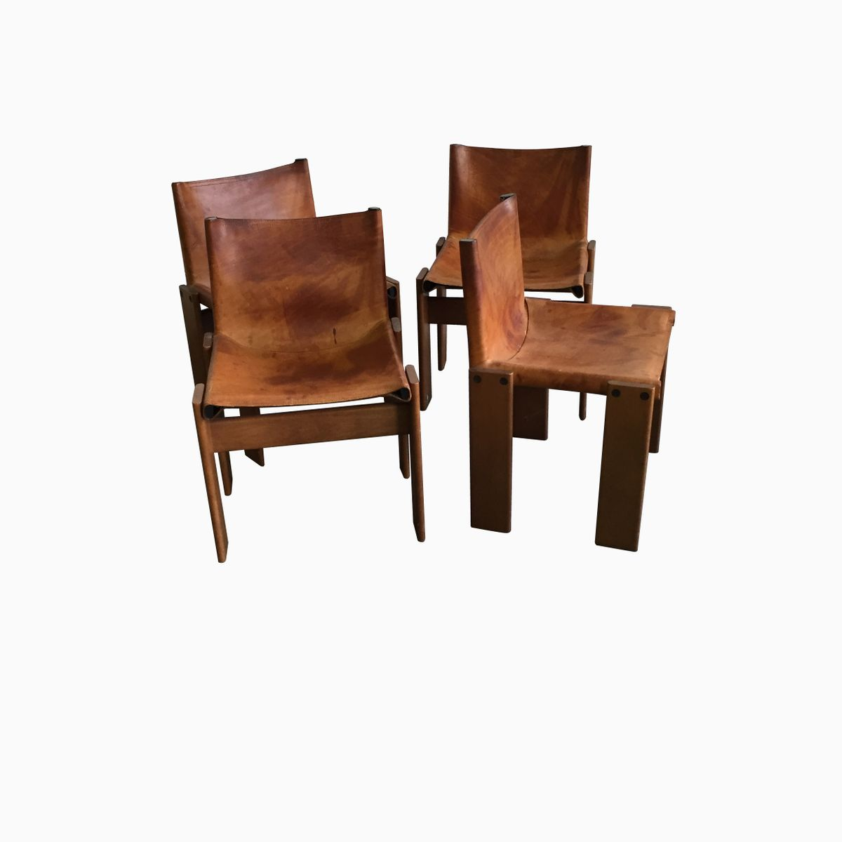 Superb img of Vintage Leather and Wood Chairs by Sedie Afra & Tobia Scarpa Set of 4  with #391D0E color and 1200x1200 pixels