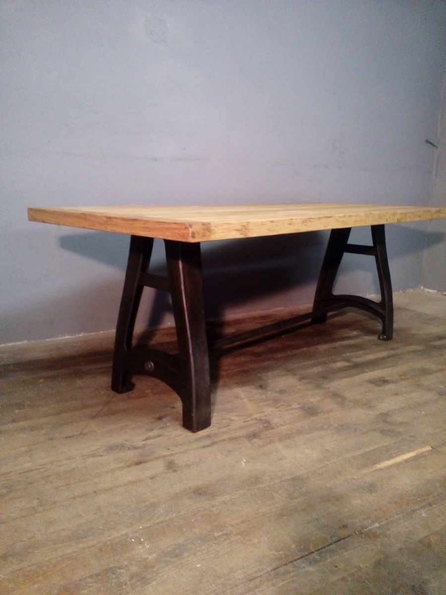 Vintage Metal Dining Table Vintage Industrial Oak And Metal Dining Table For Sale At Pamono