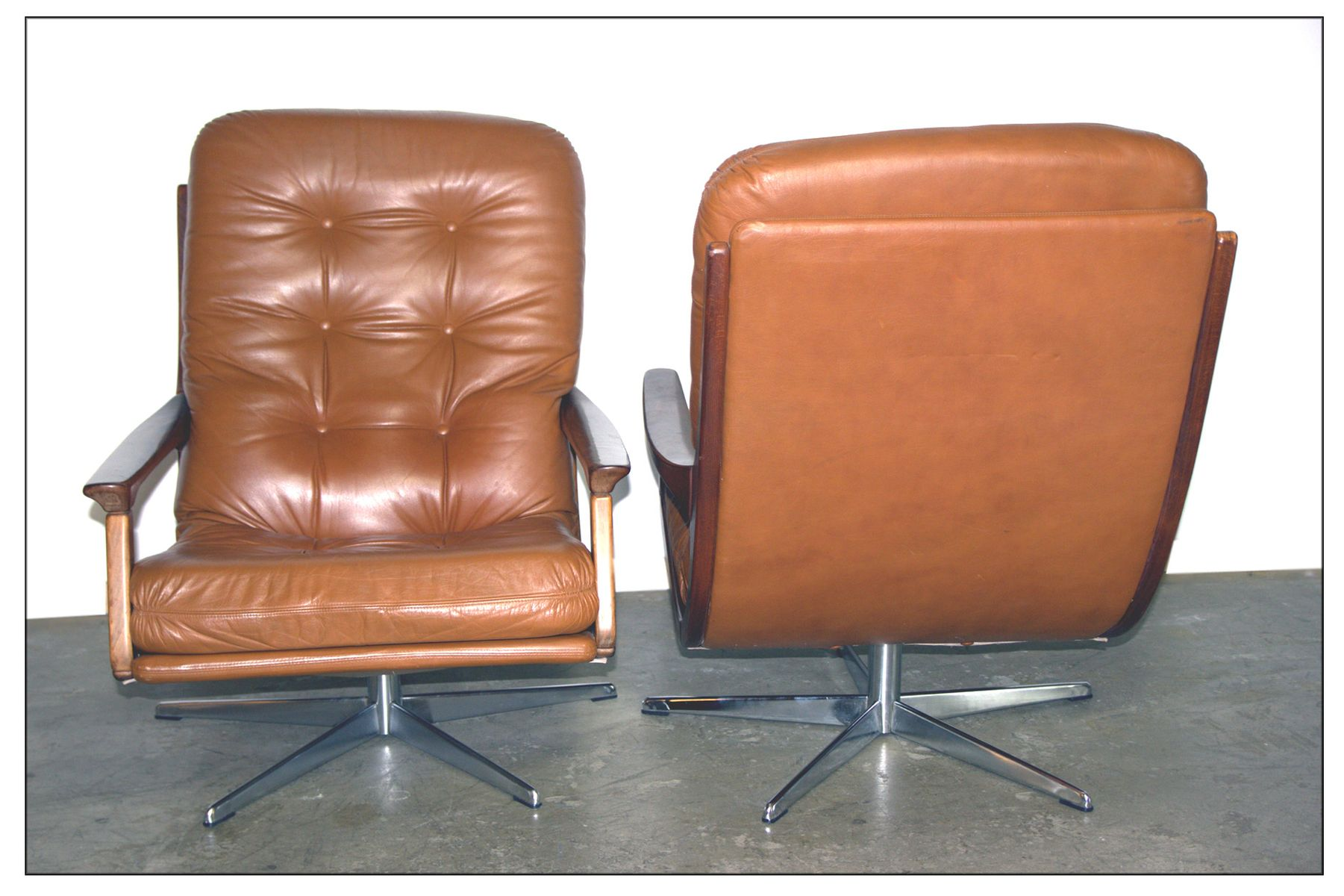 Vintage Ash and Cognac Leather Club Chair for sale at Pamono