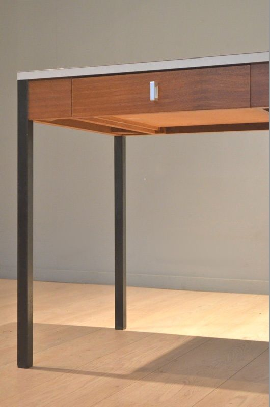 Cm223 laminate teak wood desk by pierre paulin for for Laminated wood for sale