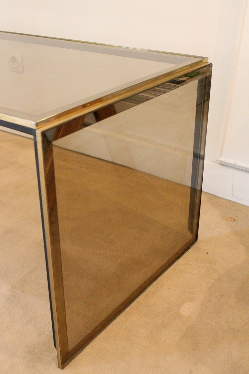 Vintage Italian Glass And Brass Coffee Table For Sale At Pamono