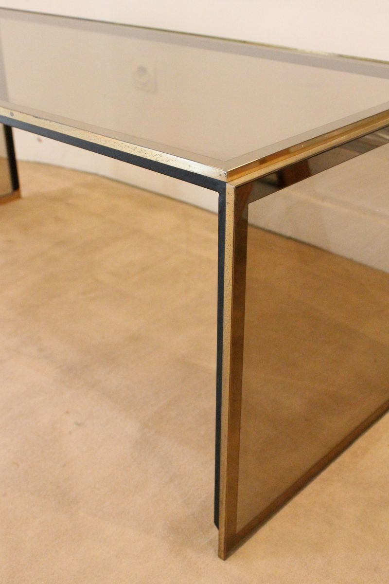 table basse vintage en verre et en laiton italie en vente sur pamono. Black Bedroom Furniture Sets. Home Design Ideas