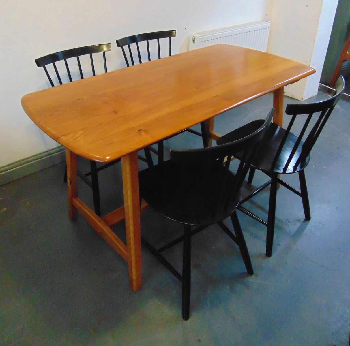Elm trestle dining table from ercol 1950s for sale at pamono - Ercol dining table ...