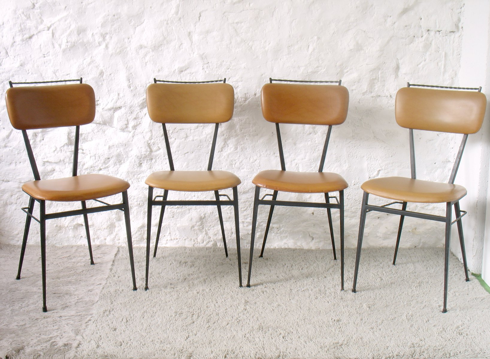 Vintage French Black Metal Chairs from Soudexvinyl 1960s Set of