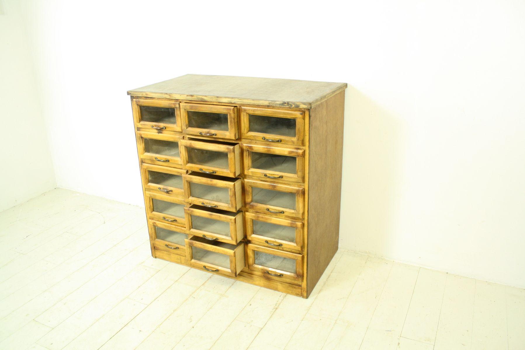 Vintage british 15 drawer oak haberdashery cabinet for for Kitchen drawers for sale