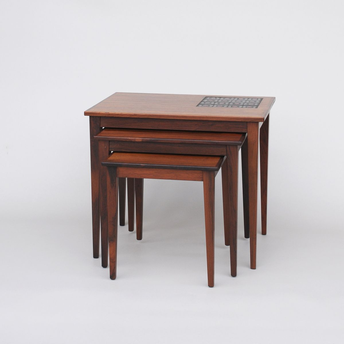 Amazing photo of Danish Rosewood Nesting Tables 1960s Set of 3 for sale at Pamono with #6E3D30 color and 1200x1200 pixels
