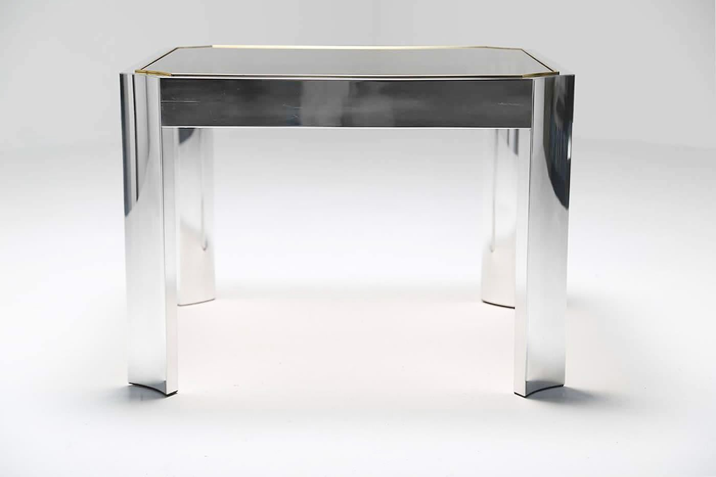 Mid Century Coffee Table With Aluminium Base And Brass Trim
