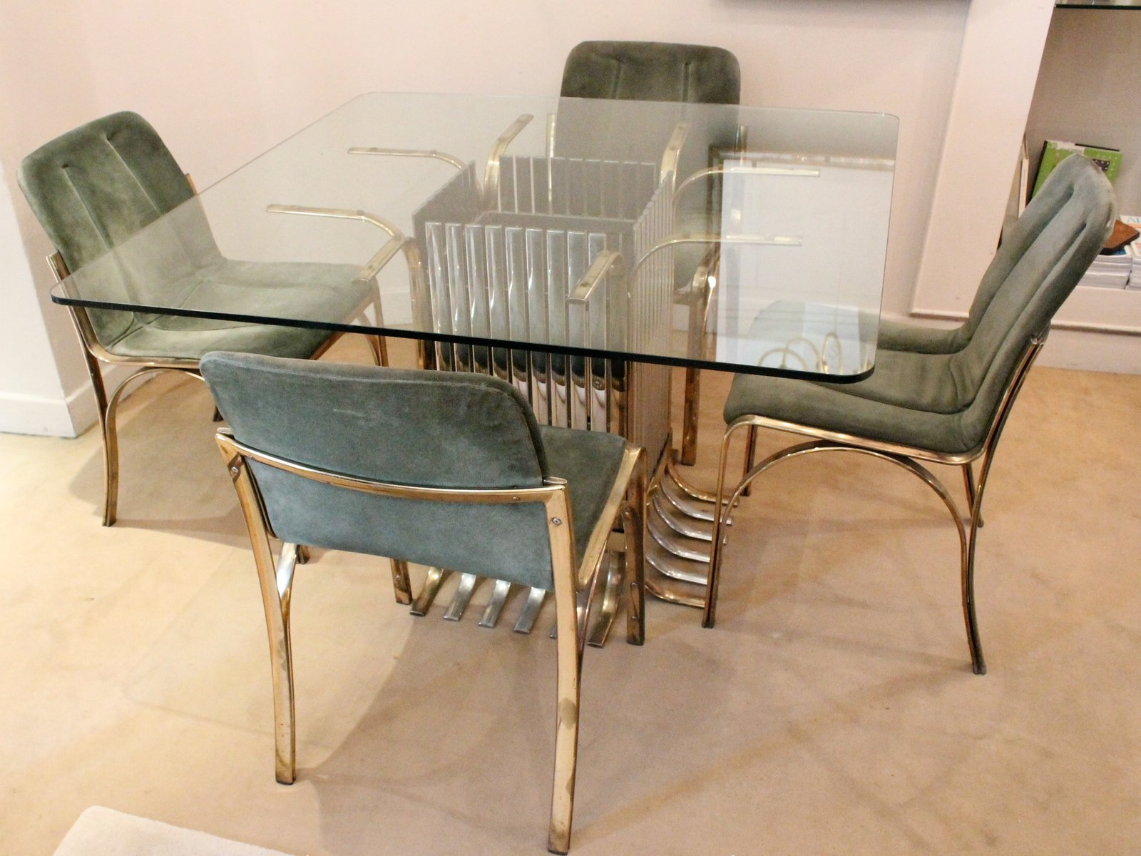 Italian Glass Dining Table With Four Chairs, 1970 25. Price: $2,726.00  Regular Price: $2,971.00