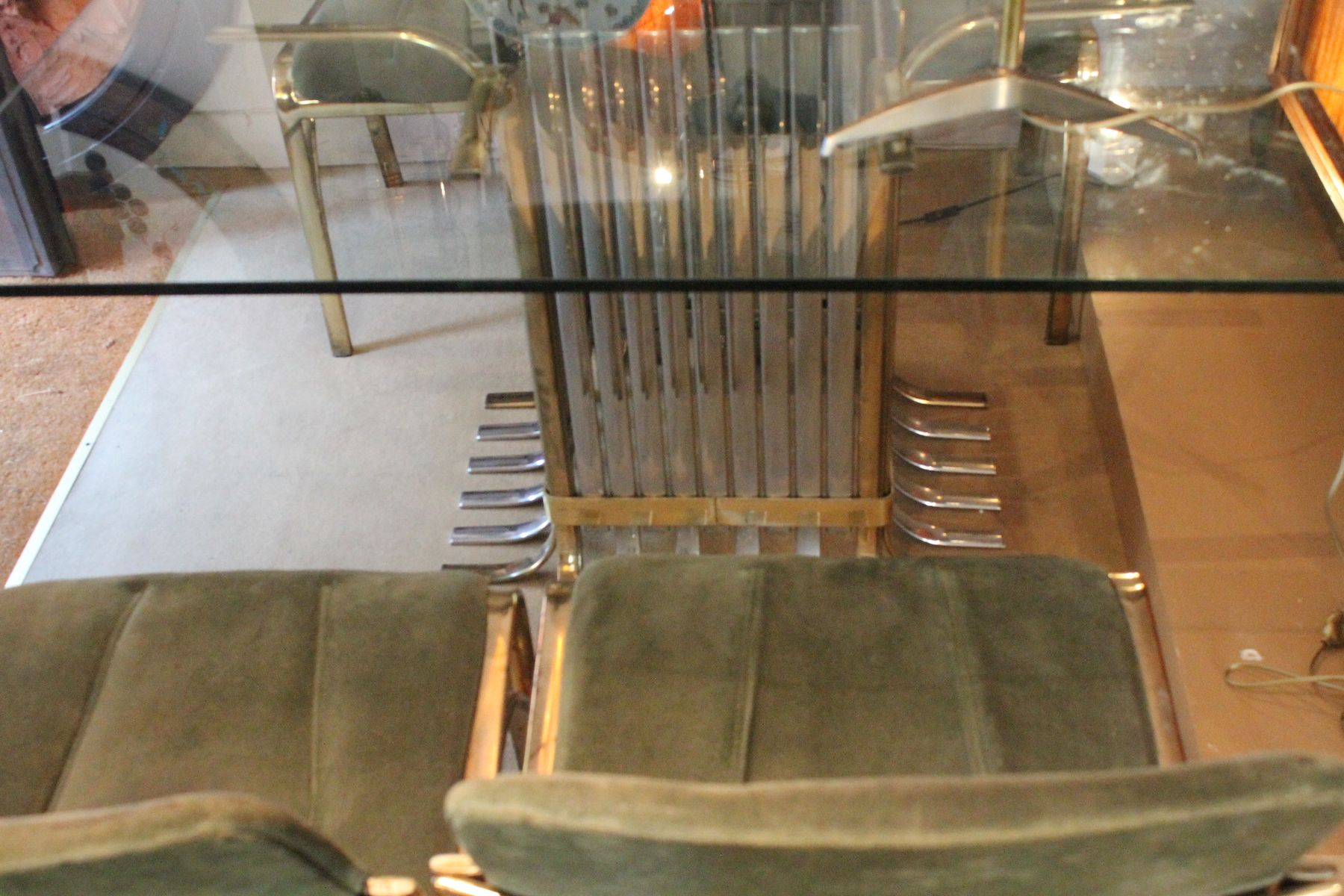 Italian Glass Dining Table Italian Glass Dining Table With Four Chairs 1970 For Sale At Pamono