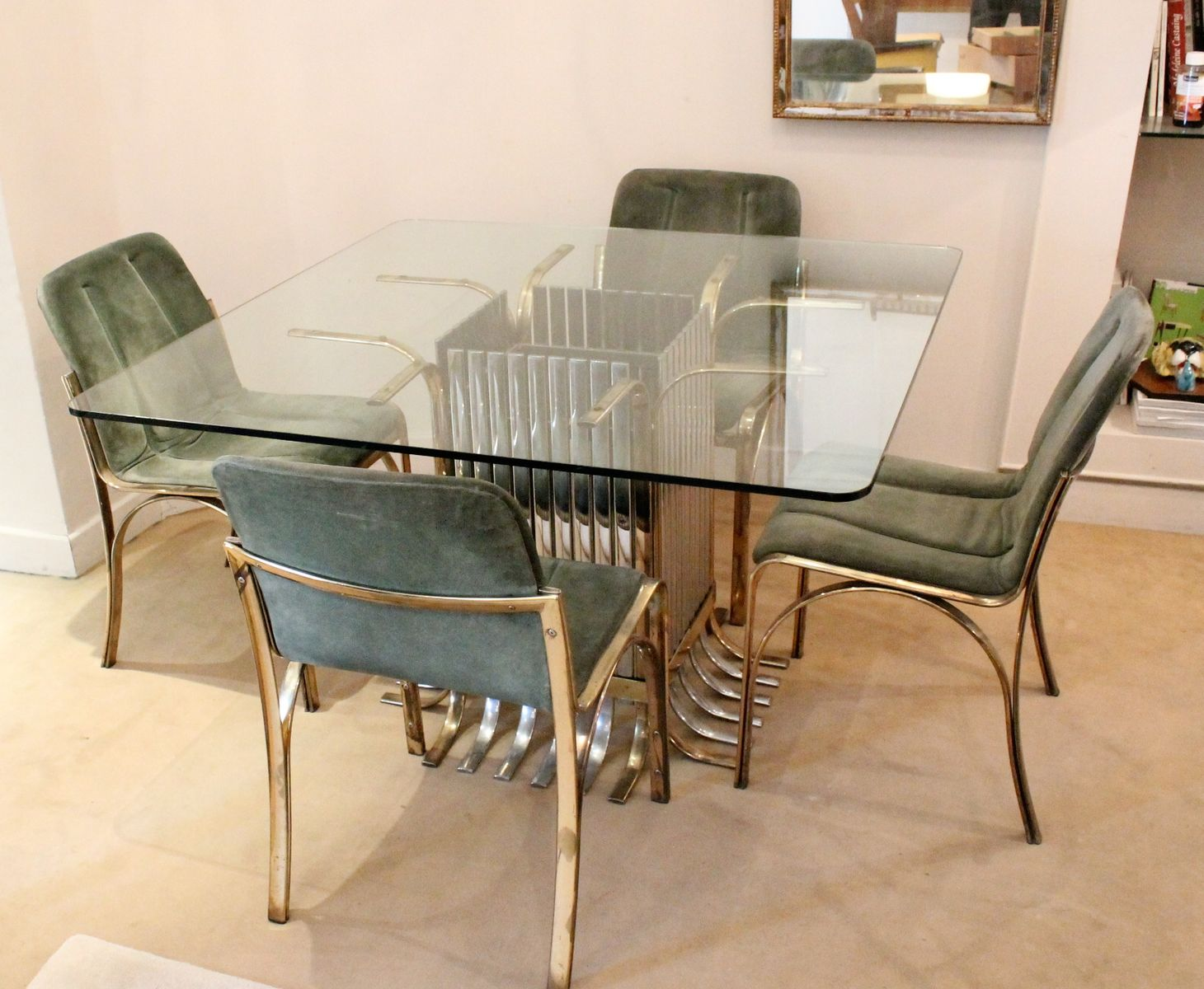 Italian Glass Dining Table with Four Chairs 1970 for sale  : italian glass dining table with four chairs 1970 20 from www.pamono.co.uk size 1459 x 1200 jpeg 147kB