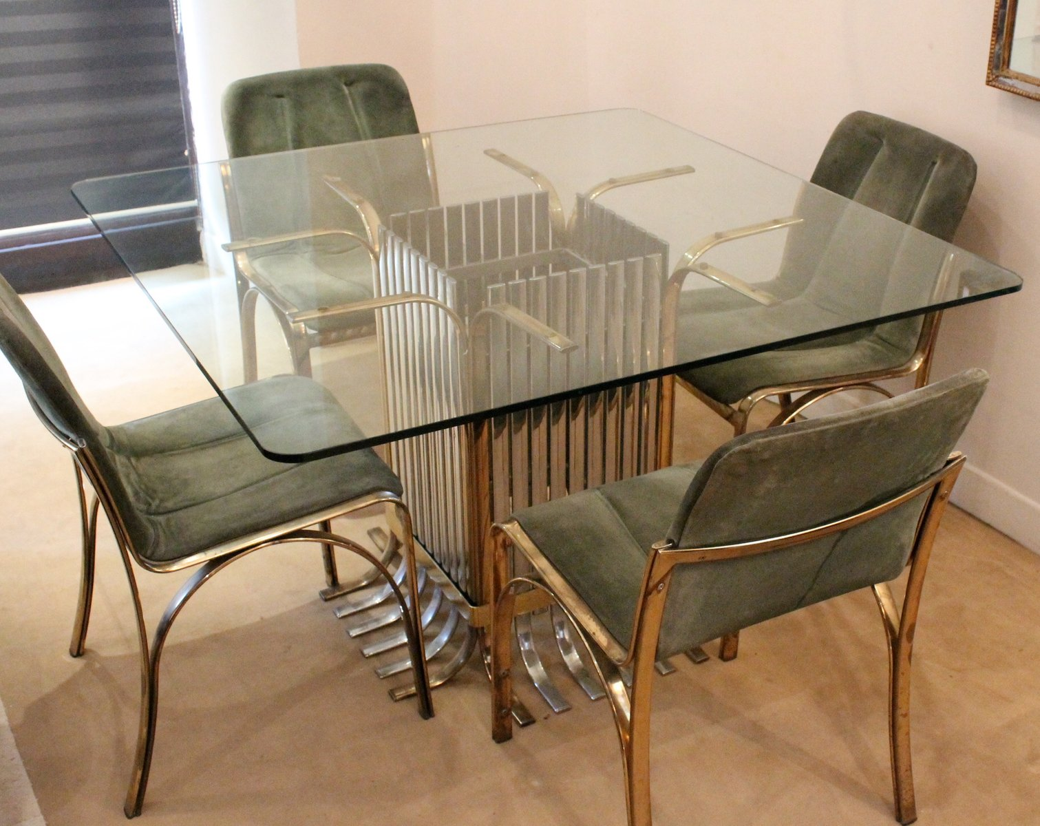 Italian Glass Dining Table with Four Chairs 1970 for sale  : italian glass dining table with four chairs 1970 18 from www.pamono.eu size 1511 x 1200 jpeg 166kB
