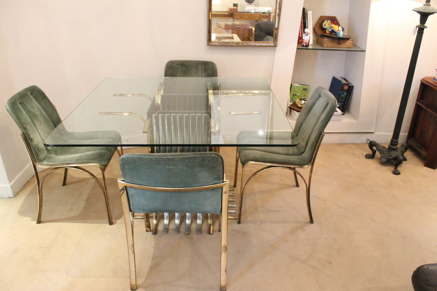 italian glass dining table with four chairs, 1970 for sale at pamono