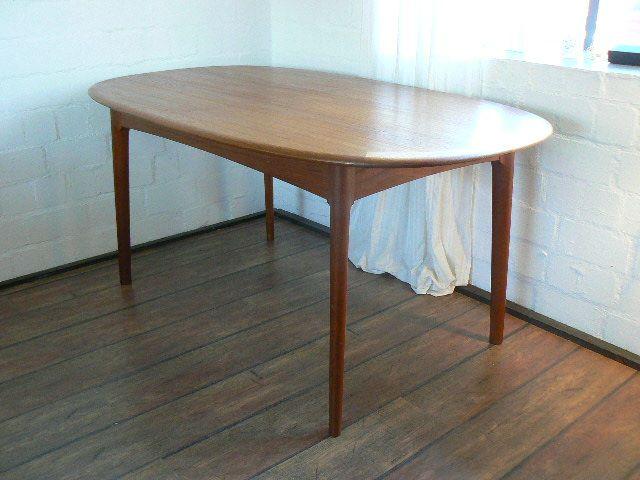 organischer ausziehbarer d nischer teak esstisch 1970er bei pamono kaufen. Black Bedroom Furniture Sets. Home Design Ideas
