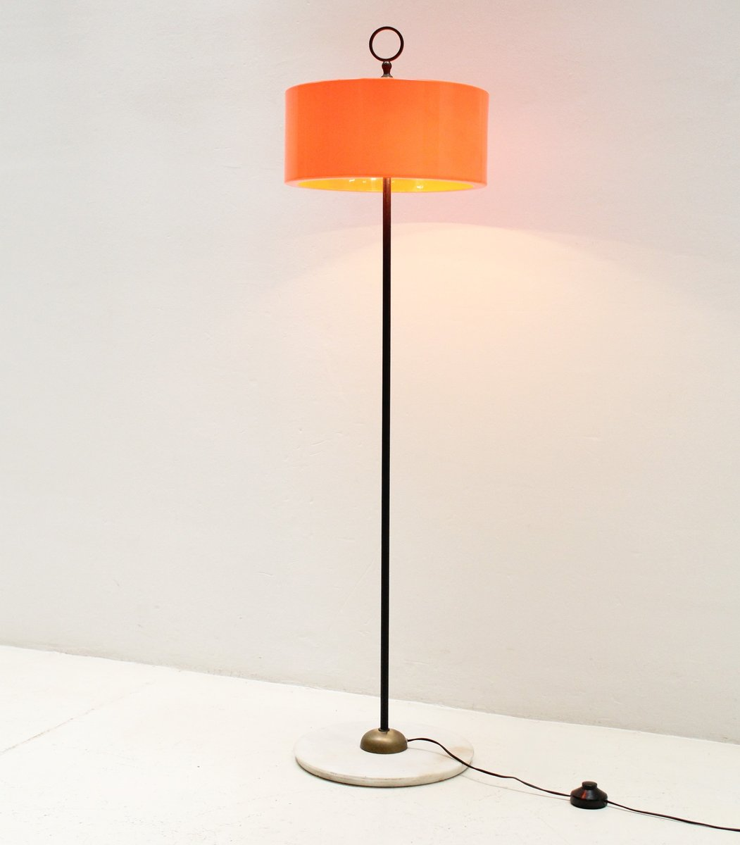 italian floor lamp with orange shade s for sale at pamono - italian floor lamp with orange shade s