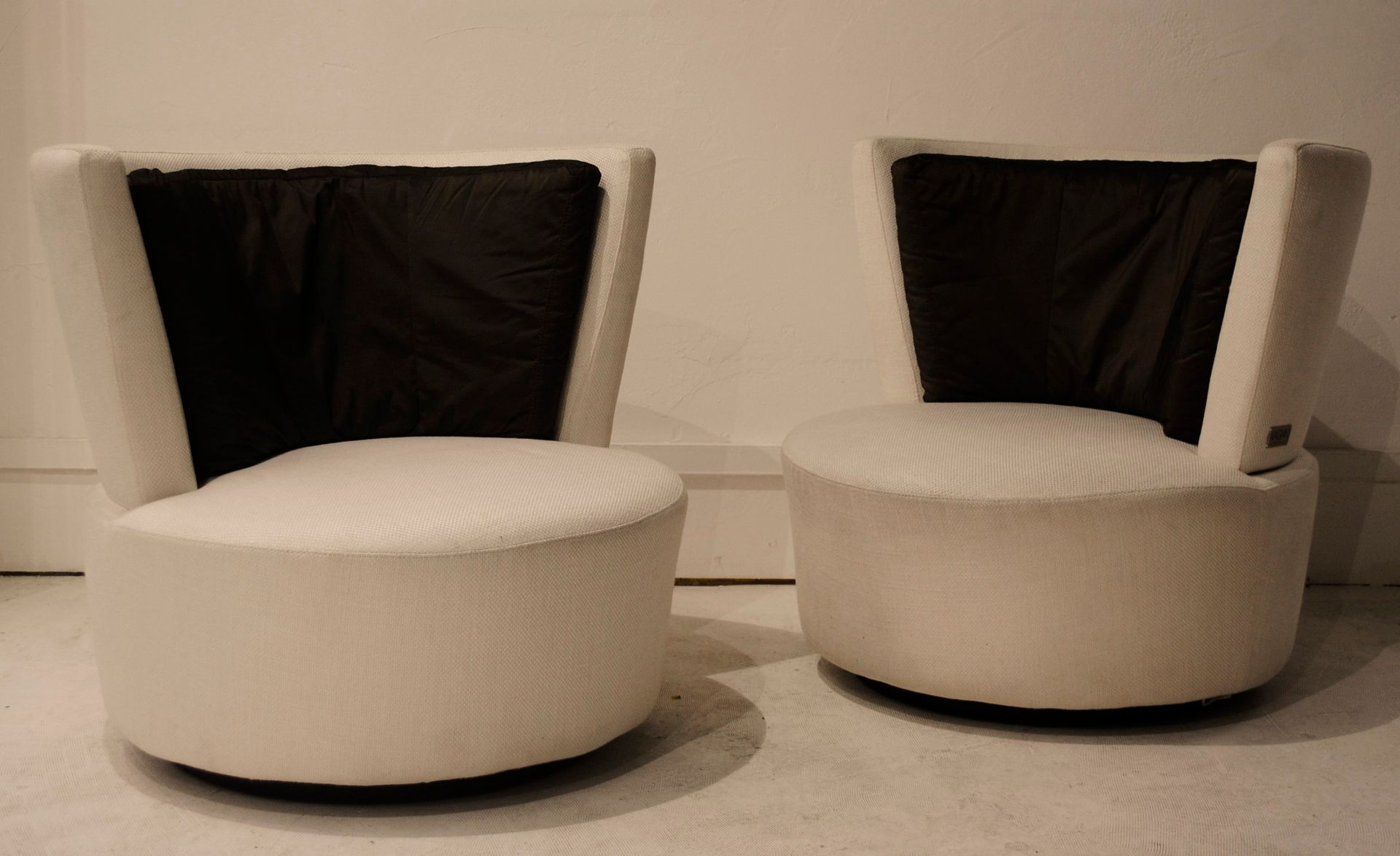 Ivory and Brown Swivel Chairs by Vladimir Kagan Set of 2 for sale
