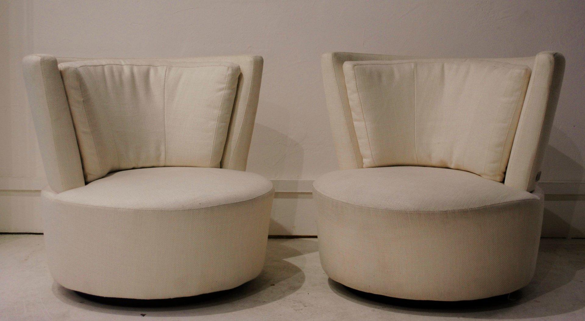 Ivory Swivel Chairs By Vladimir Kagan, Set Of 2