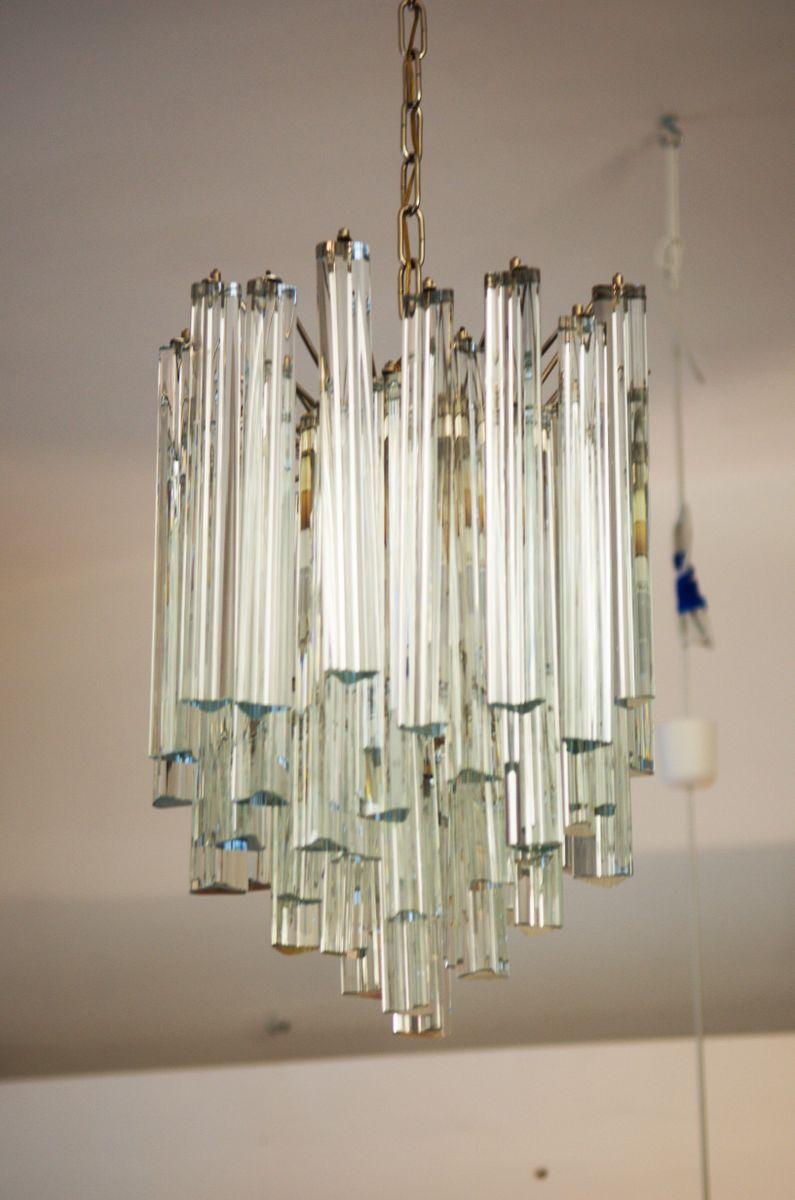 chandelier avec prismes en verre au plomb par j t kalmar en vente sur pamono. Black Bedroom Furniture Sets. Home Design Ideas