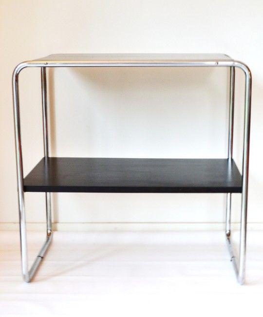 vintage bauhaus beistelltisch mit stahlrohrrahmen bei. Black Bedroom Furniture Sets. Home Design Ideas