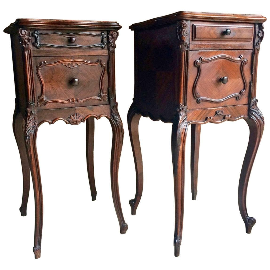 Antique French Walnut Amp Marble Night Stands Set Of 2 For