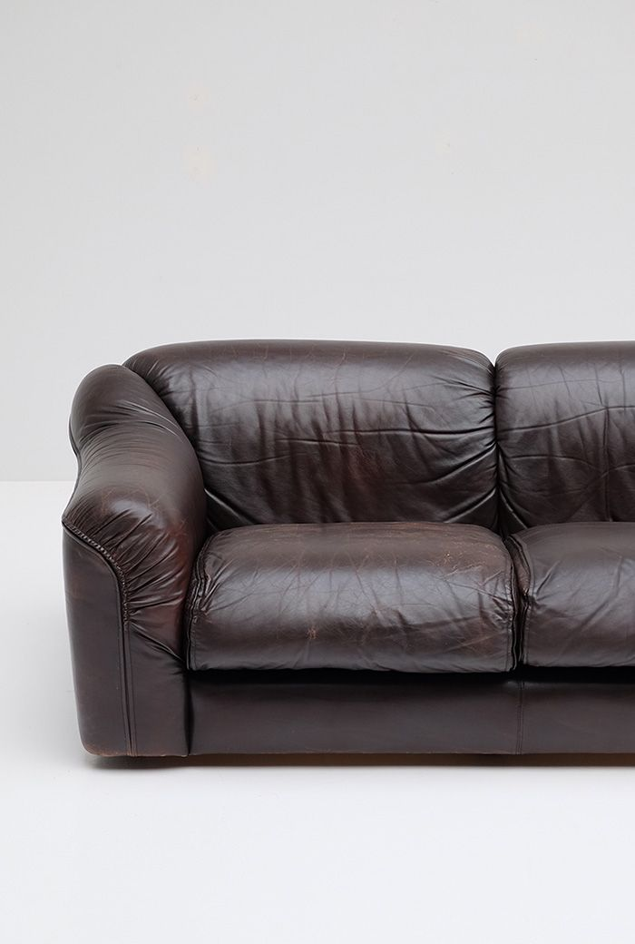 Vintage 3 seater leather sofa 1970s for sale at pamono for Leather sofa 7 seater