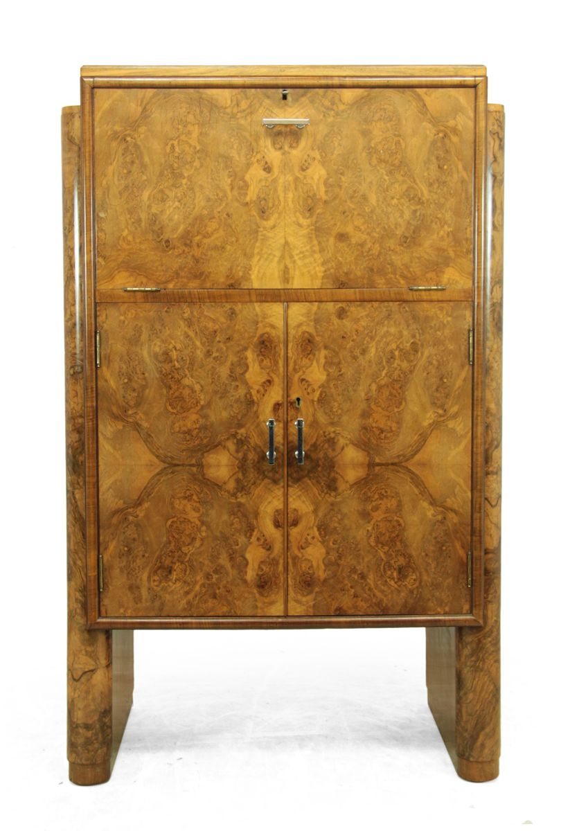 Art deco walnut cocktail cabinet by berick 1930s for sale for 1930s kitchen cabinets for sale