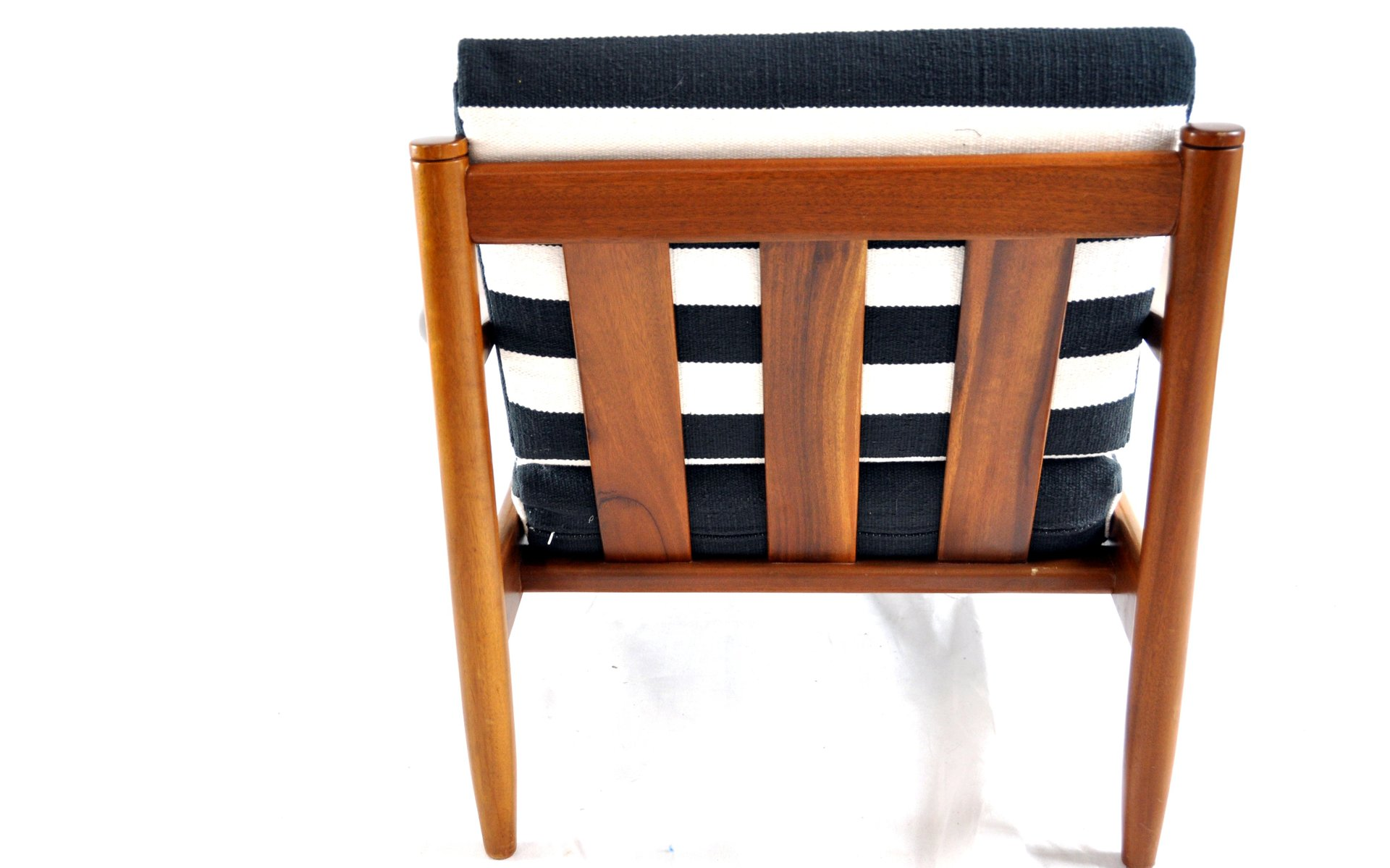 Black and White Striped Vintage Lounge Chair for sale at Pamono