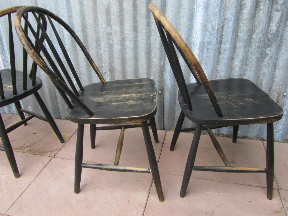 Vintage Wooden Bowback Dining Chairs Set Of 4 For Sale At Pamono