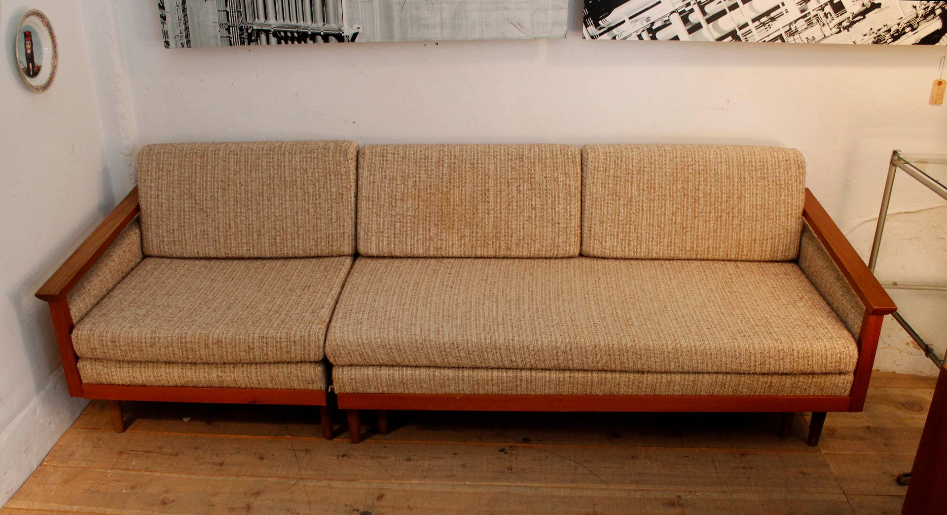 Vintage swedish four seater sofa with chaise longue for for Chaise longue style sofa