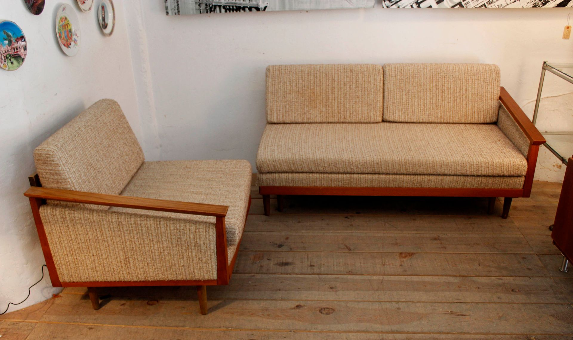 Vintage swedish four seater sofa with chaise longue for for Sofa 1 plaza chaise longue
