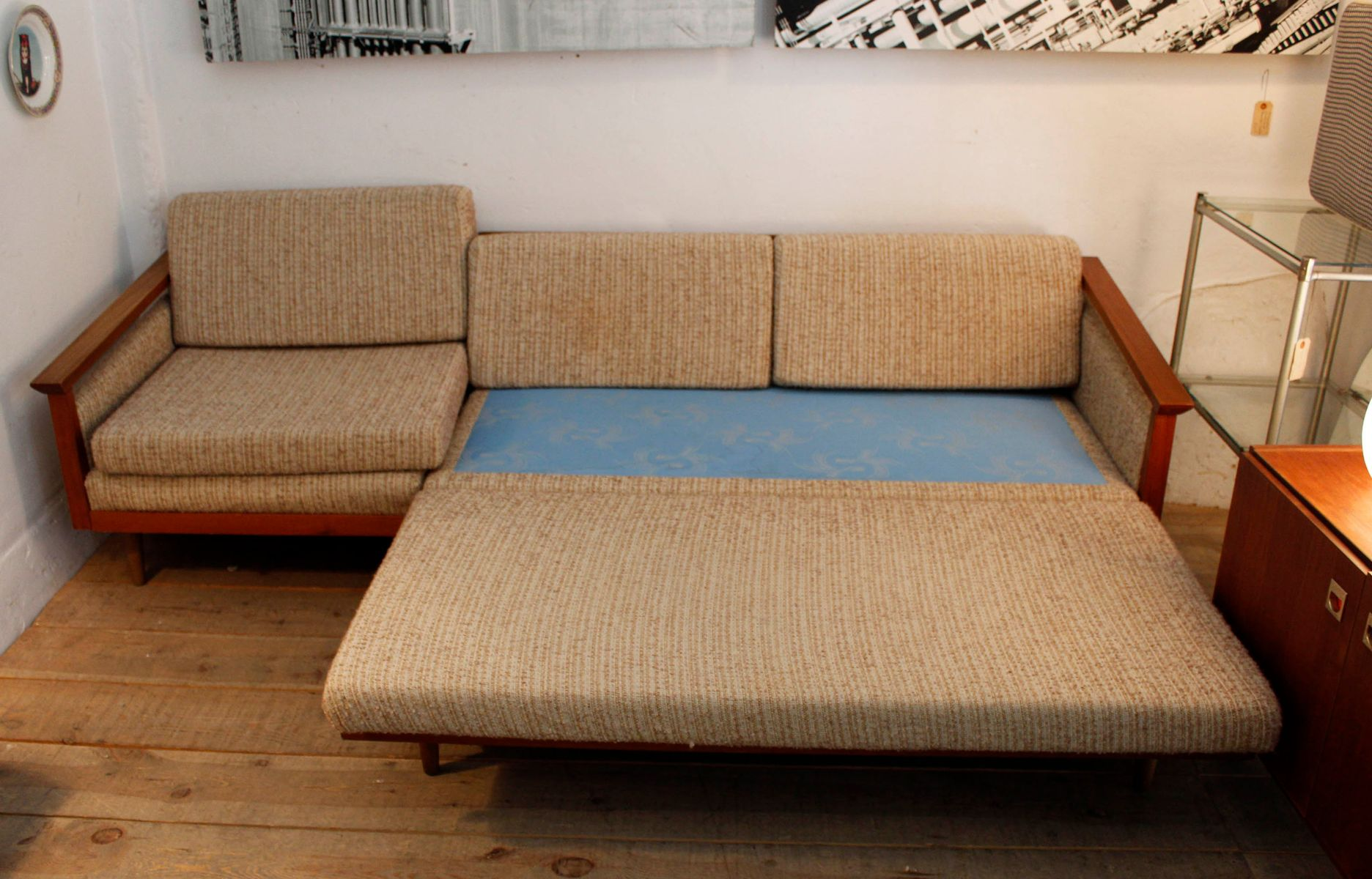 Vintage swedish four seater sofa with chaise longue for for 4 seater lounge with chaise