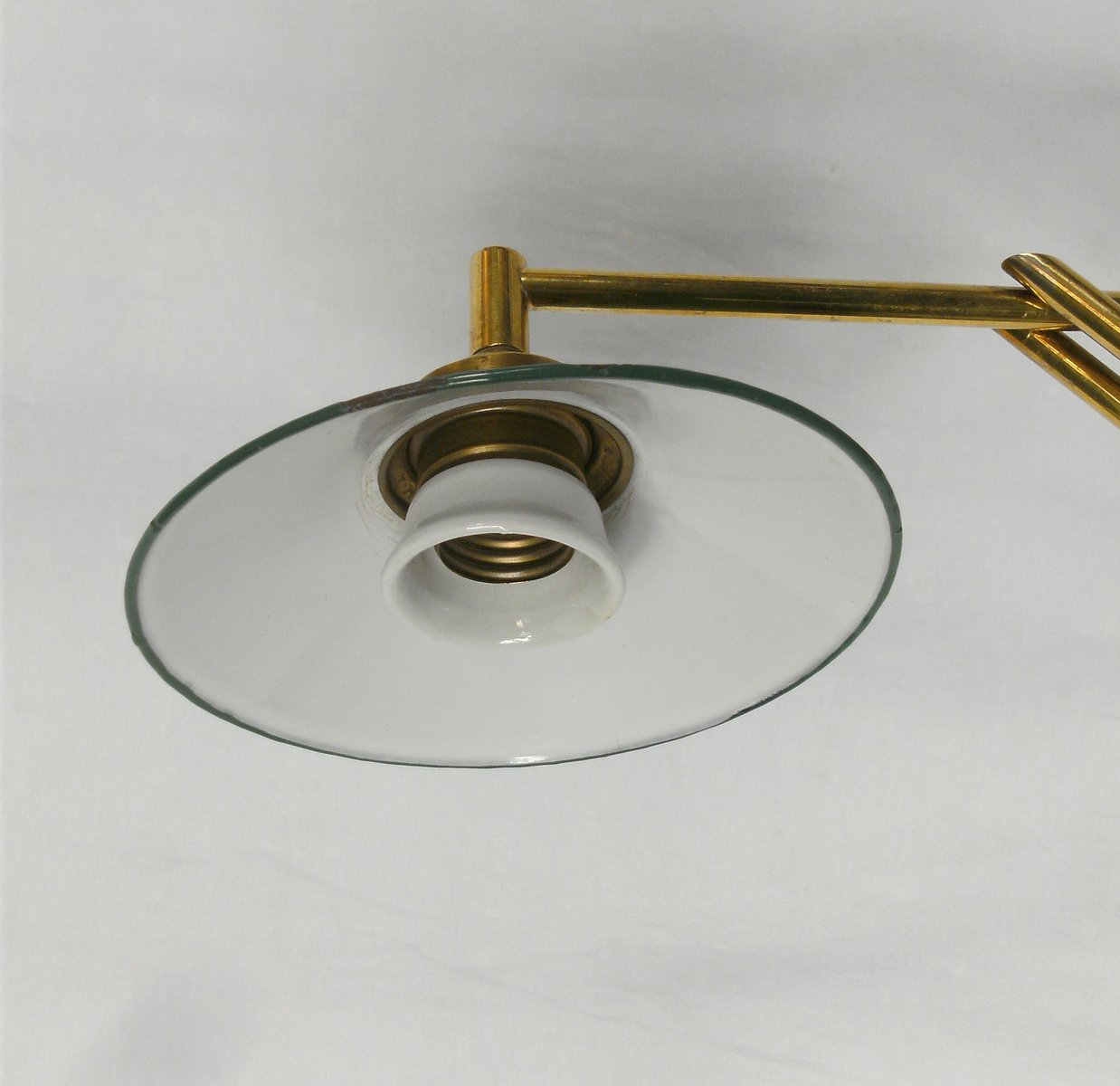 Small Brass Wall Lamps : Small Brass & Enamel Wall Lamp for sale at Pamono