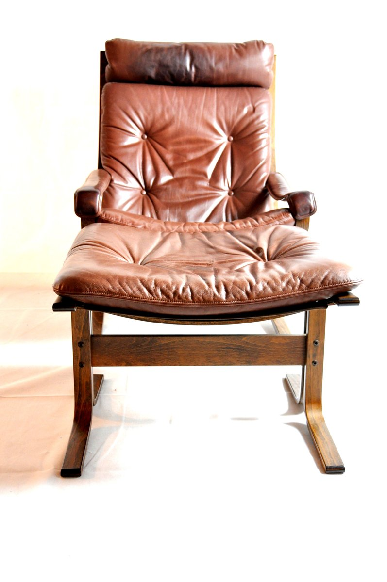 Vintage cognac leather lounge chair with ottoman set of