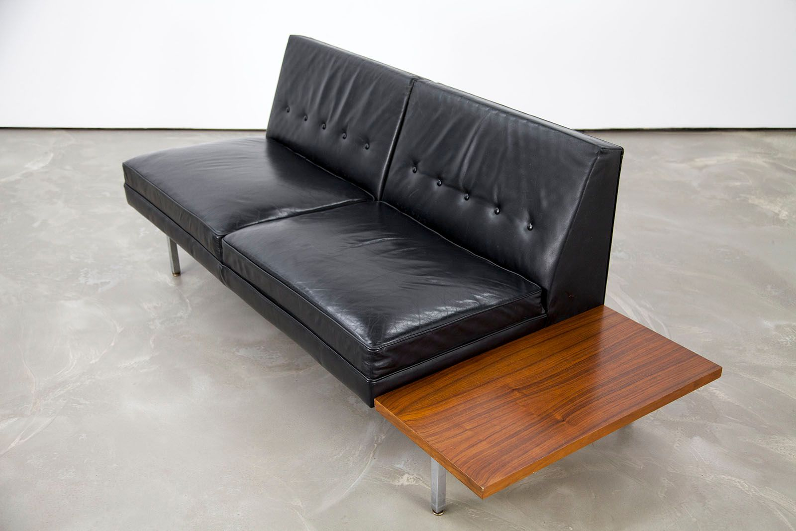 Mid century modern leather sofa by george nelson for for Mid century modern leather sofa