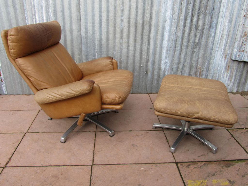 Mid century leather lounge swivel chair with ottoman for for Chair with ottoman