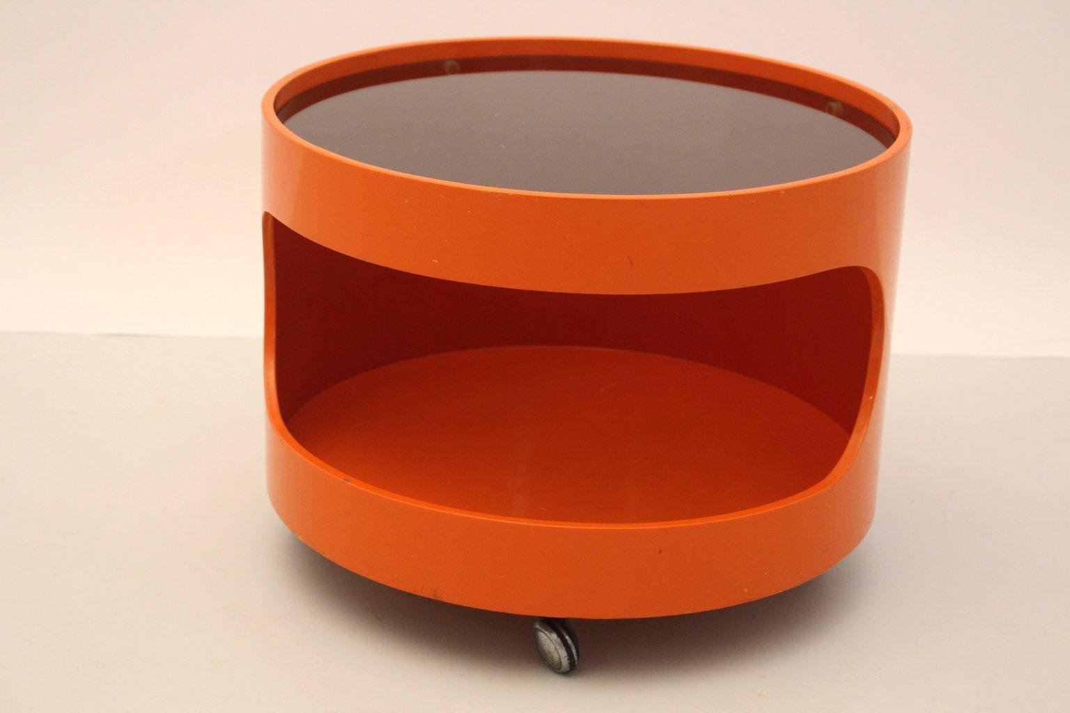 Orange coffee table on wheels from opal m bel 1960s for for Orange coffee table
