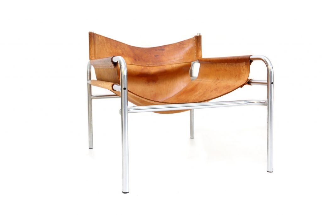 Cognac Leather Lounge Chair by Martin Visser and Walter