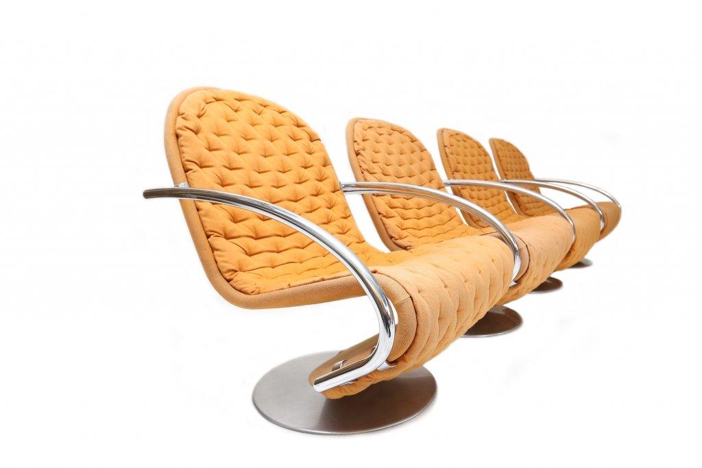 modell e st hle von verner panton f r fritz hansen 1973 4er set bei pamono kaufen. Black Bedroom Furniture Sets. Home Design Ideas