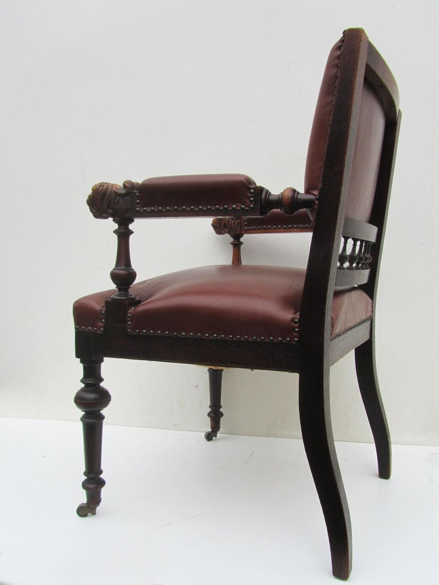 Antique Wood Office Chair For Sale Vintage Adjustable Wooden