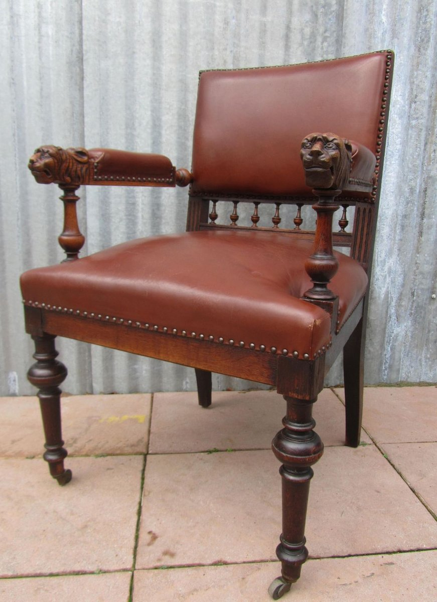 - Antique Dutch Carved Oak Lion Head Arm Chair For Sale At Pamono
