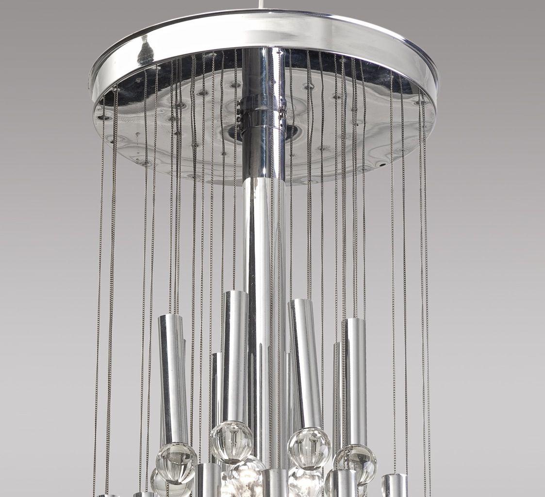 stahl glas pendelleuchte von gaetano sciolari 1960er bei pamono kaufen. Black Bedroom Furniture Sets. Home Design Ideas