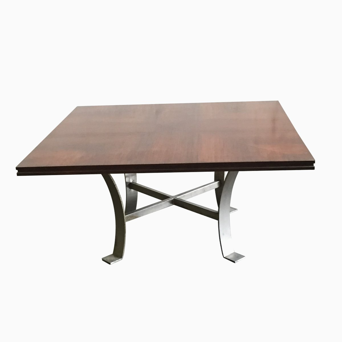 Vintage square coffee table with metal legs for sale at pamono Aluminum coffee table legs