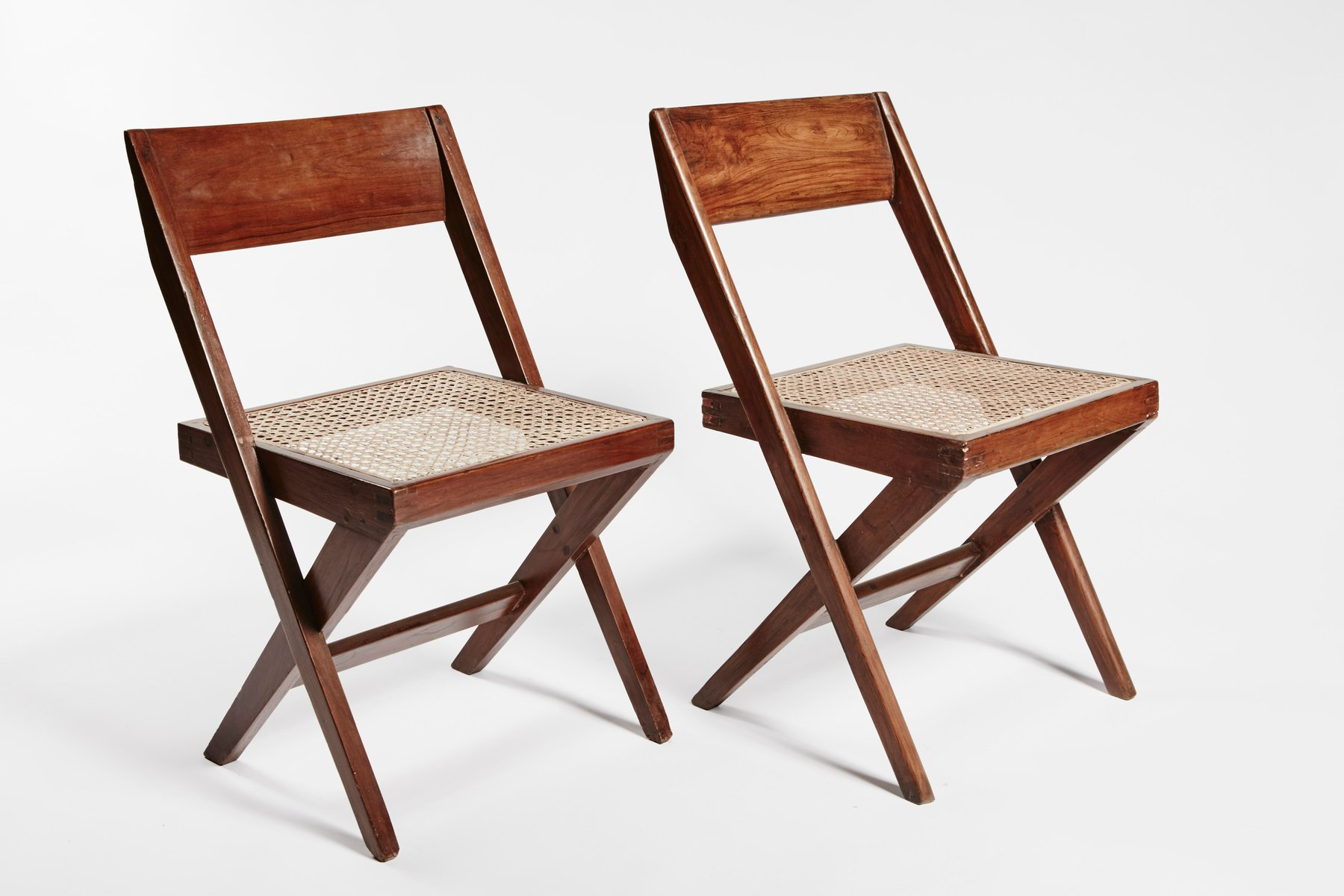 Teak and Wicker Library Chairs by Pierre Jeanneret Set of 2 for