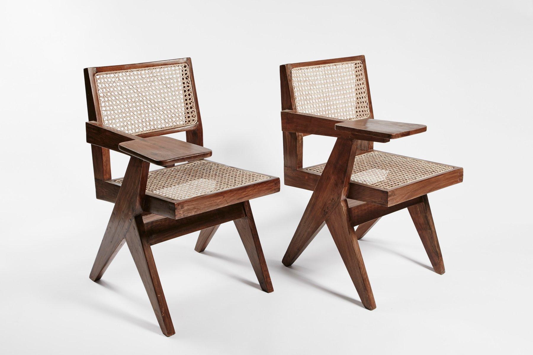 teak and wicker desk chairspierre jeanneret, set of 2 for sale