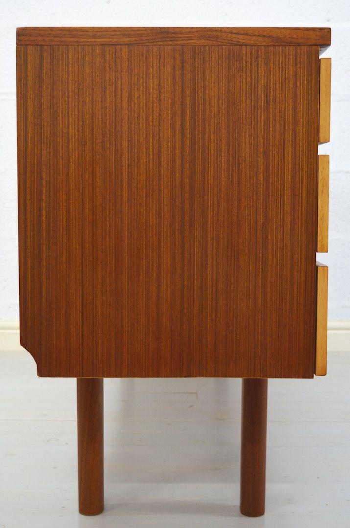 Vintage teakholz schreibtisch mit sechs schubladen von for Schreibtisch teakholz