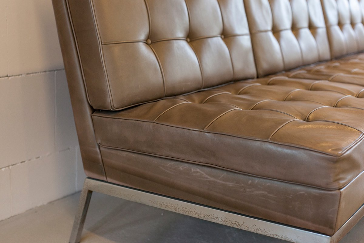 Beautiful Vintage Leather Sofa By Florence Knoll For 1972 At