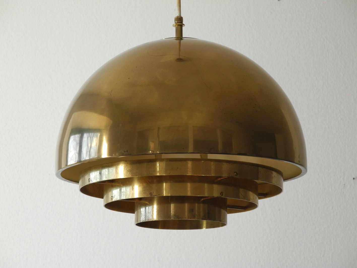 Mid century brass ceiling lamp from vereinigte werkst tten for Mid century ceiling lamp